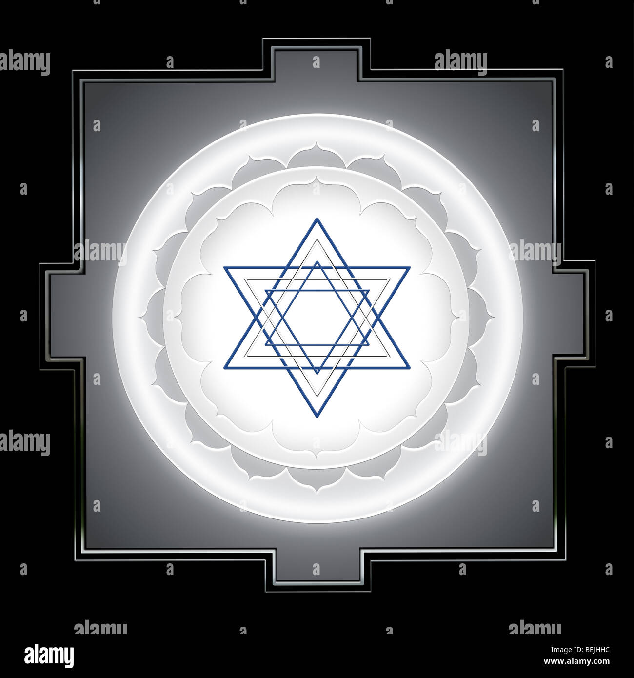 Illustration of an Indian Yantra symbol used in meditation - Stock Image