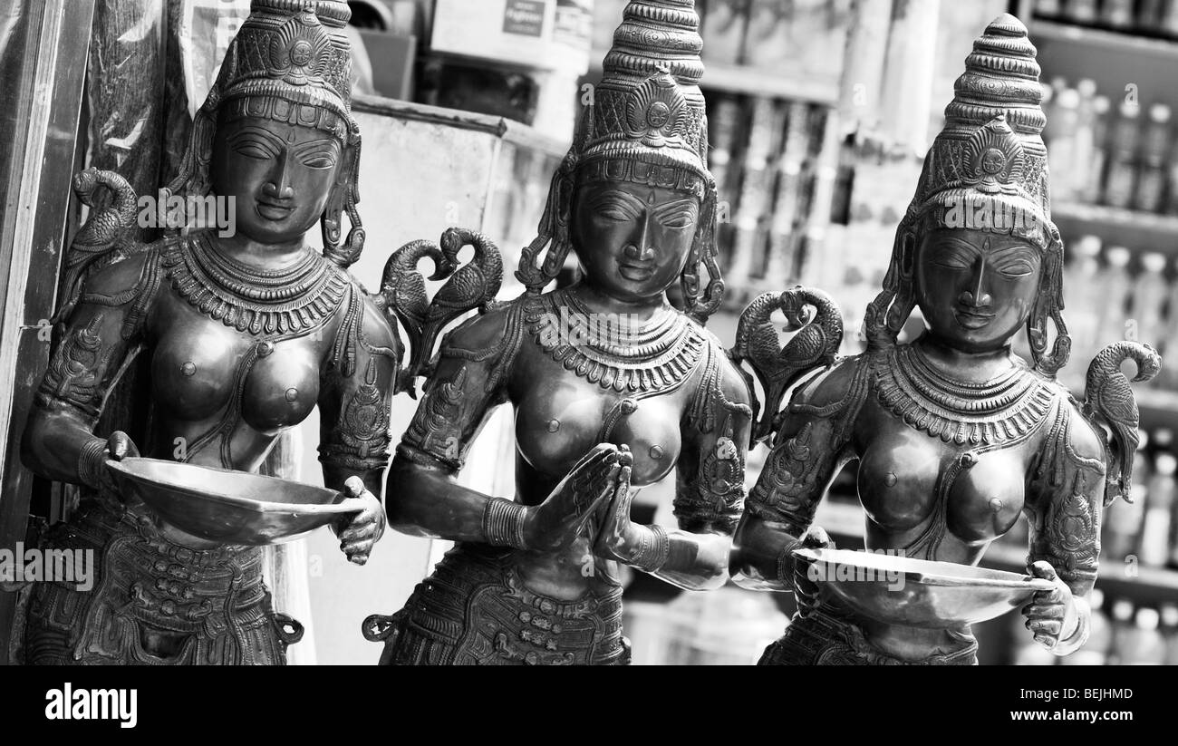 Indian hindu goddess deity statues outside a shop front in India. Monochrome - Stock Image