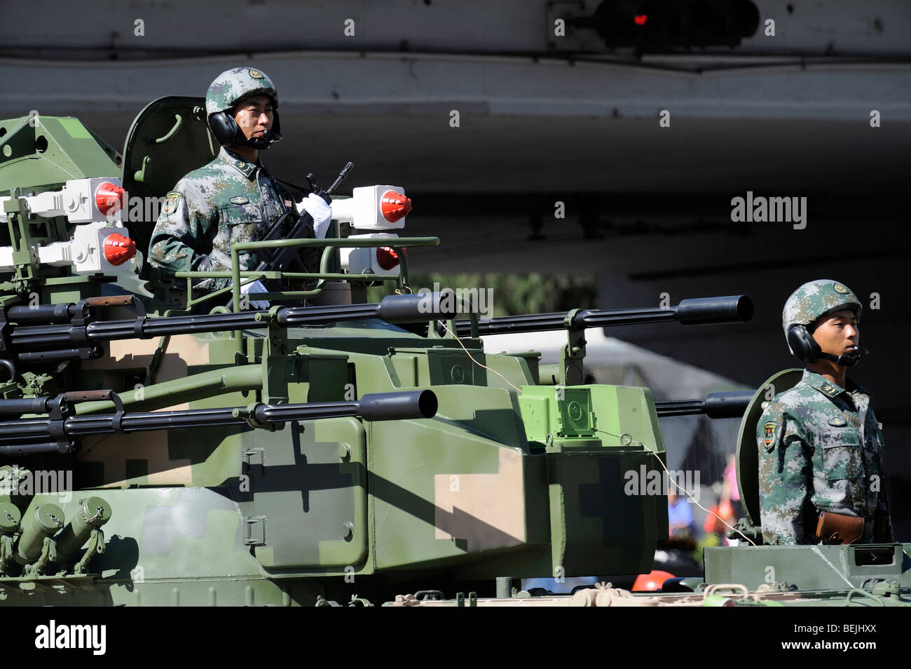 Military parade marking Chinas 60th anniversary of the Peoples Republic of China, soldiers on a tank. 01-Oct-2009 - Stock Image