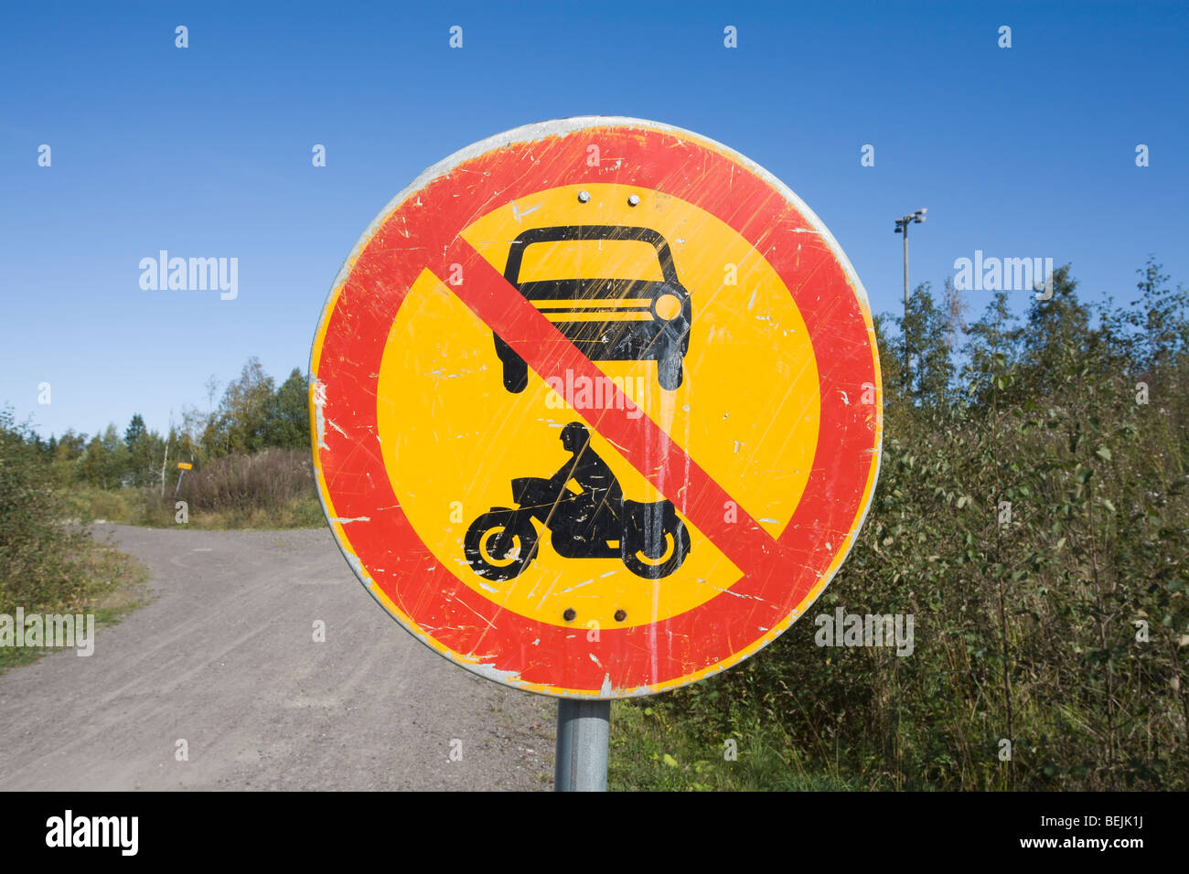 No entry for power-driven vehicles traffic sign - Stock Image