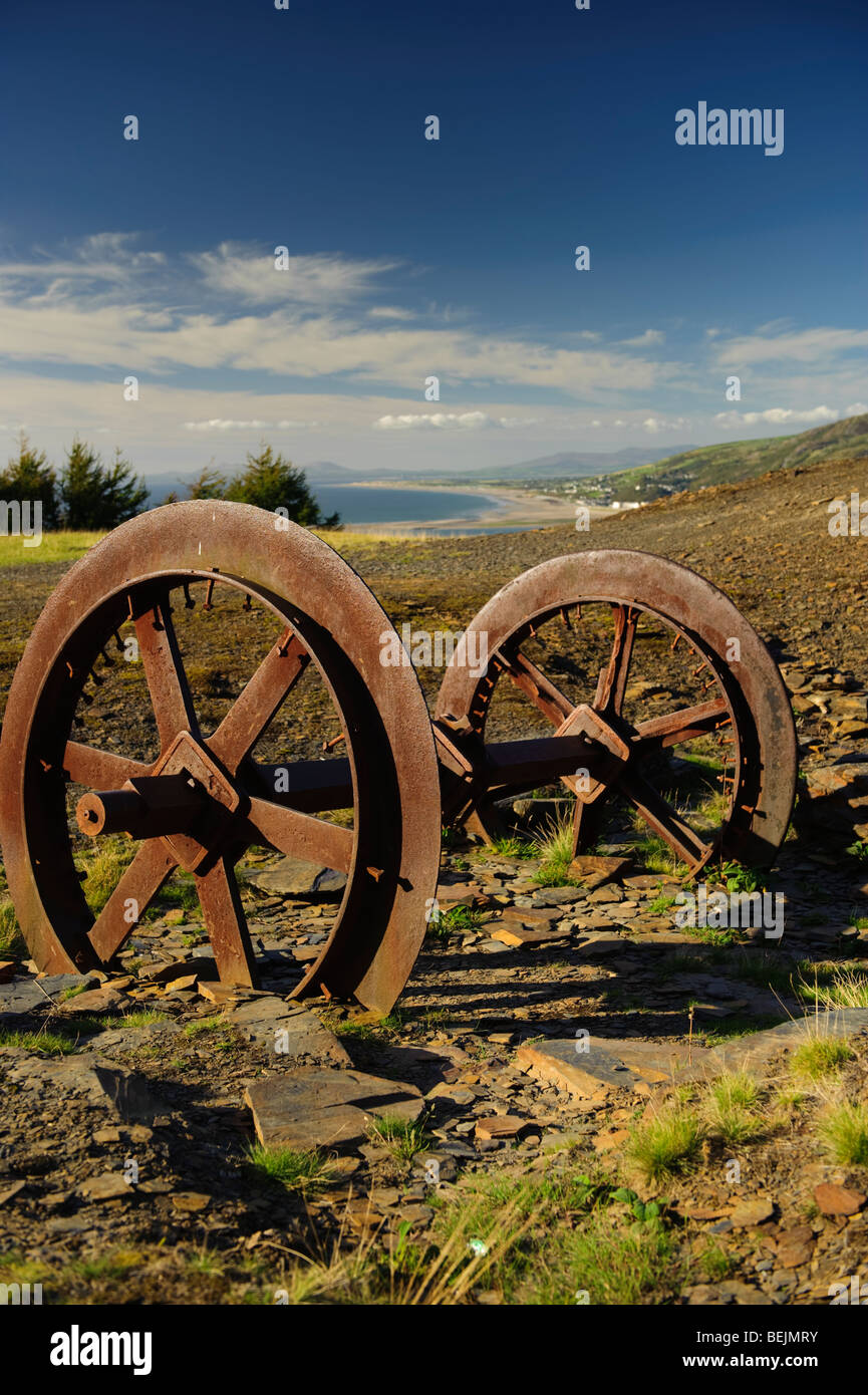 autumn afternoon Old slate mining quarrying equipment lying rusting and abandoned in a quarry above Friog Gwynedd Stock Photo