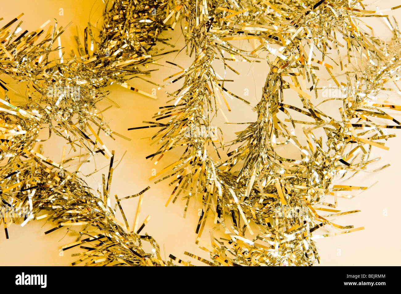 Gold Tinsel Background for Xmas - Stock Image