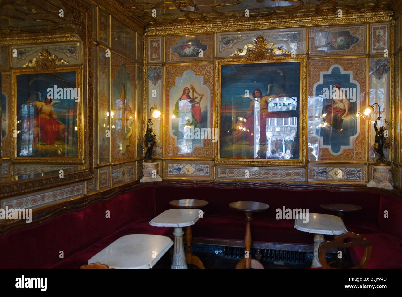 Venice Italy 2009. Florian Tea Room interior. Piazza San Marco St Marks Square - Stock Image