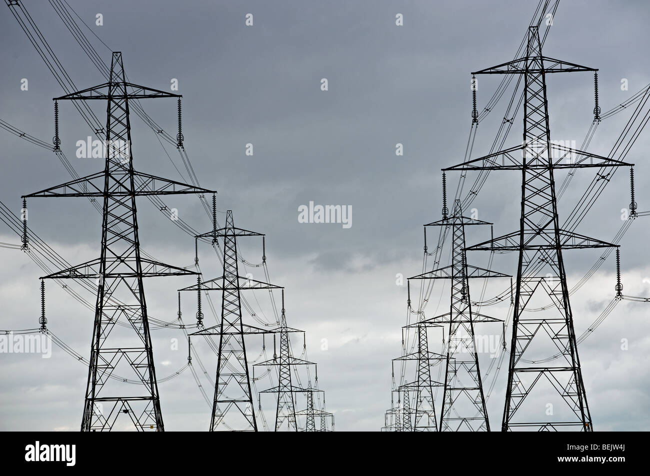 High voltage electricity pylons, Leiston, Suffolk, UK. - Stock Image