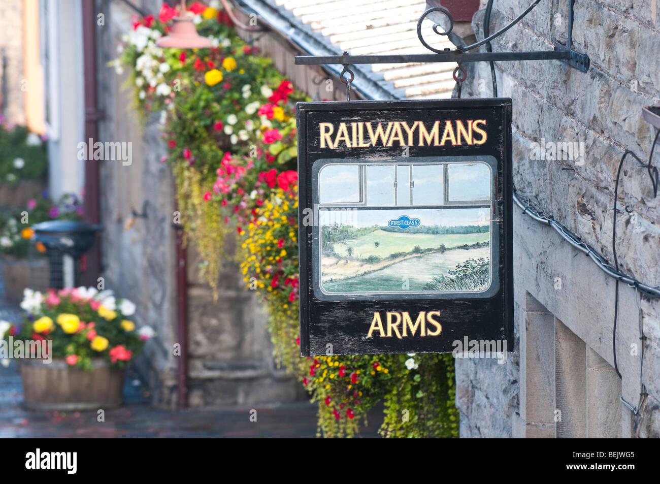 Railwaymans Arms pub sign at Severn Valley Railway station Bridgnorth Shropshire - Stock Image