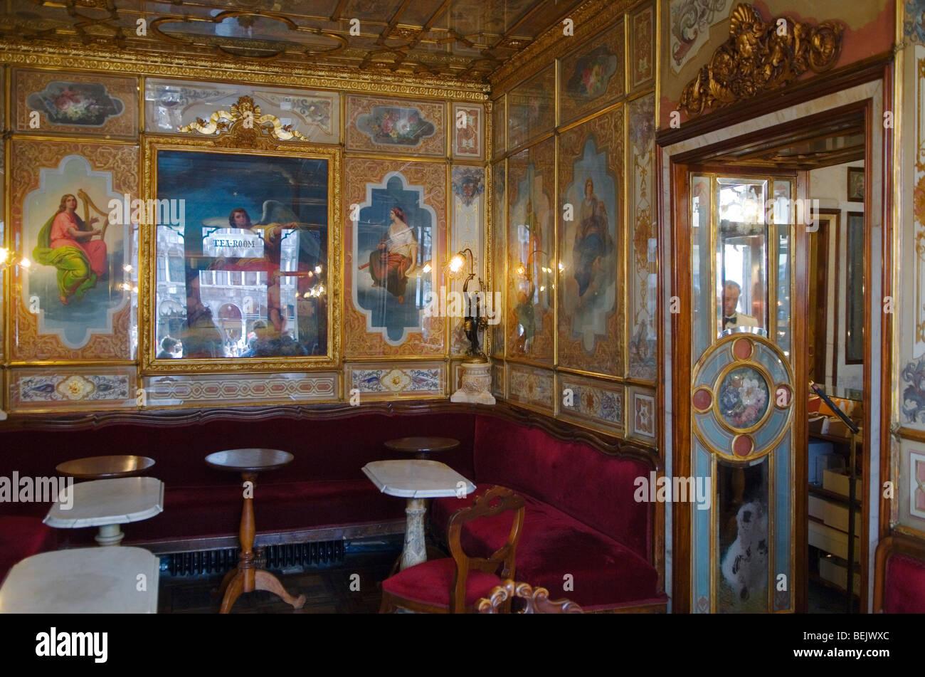 Venice Italy 2009. Florian Tea Room interior Saint Marks Square Piazza San Marco. - Stock Image