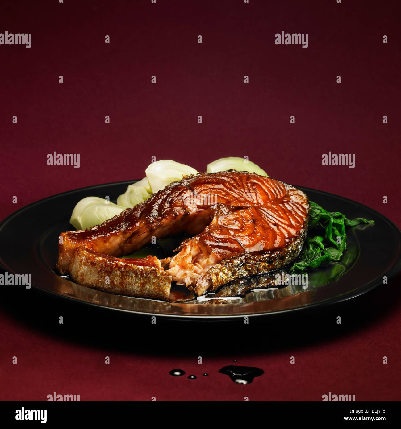 Grilled salmon with pak choi (bok choy) - Stock Image