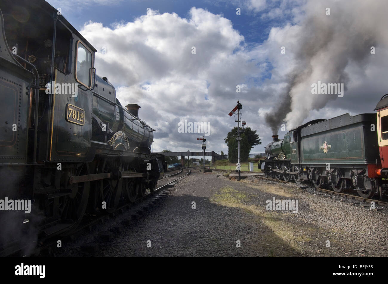 Two Great Western Railway Manor Class steam locomotives on the preserved  Severn Valley Railway at Kidderminster, - Stock Image