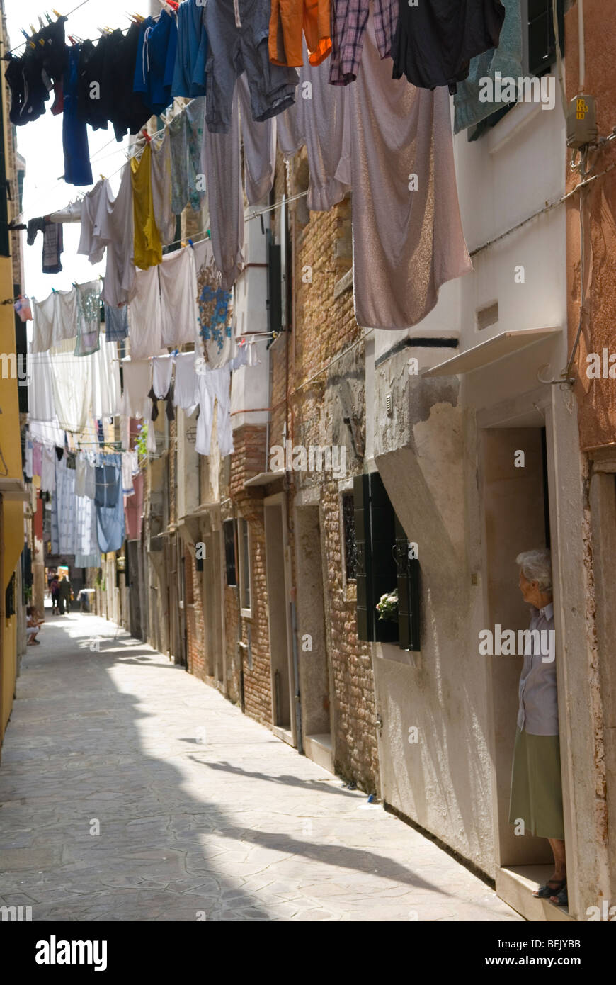 Venice Italy Public housing washing hanging out to dry Arsenale Venice. HOMER SYKES - Stock Image