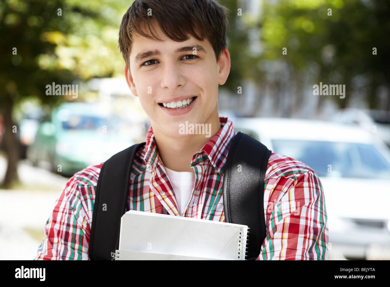 student between classes, selective focus on eye - Stock Image