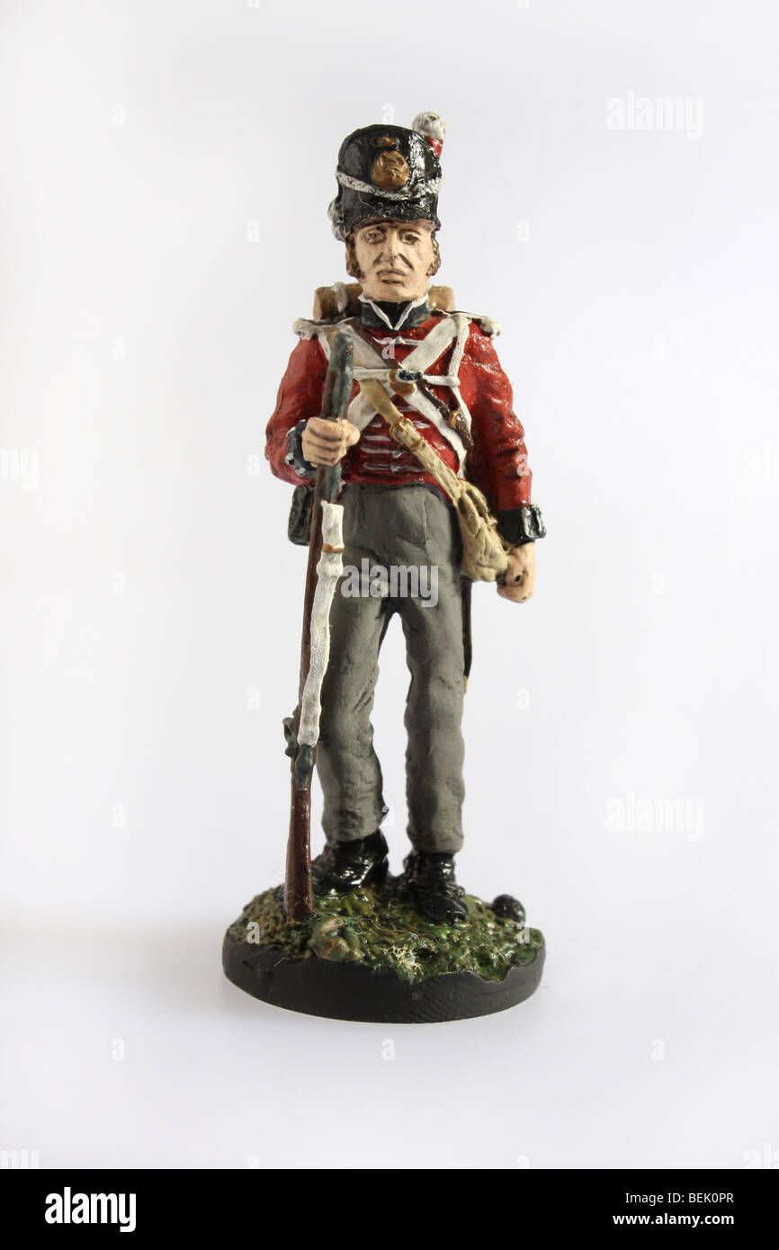 A Private from the 1st Foot British Army 1815. A collectible Franklin Mint soldier - Stock Image