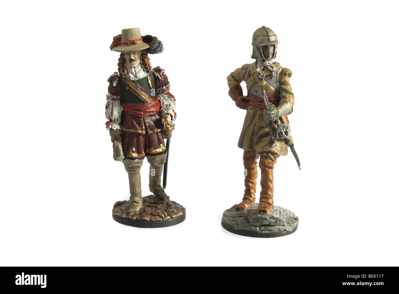A 1640's Cavalry Trooper from the New Model Army and a Royalist Cavalier. A collectible Franklin Mint soldier. - Stock Image