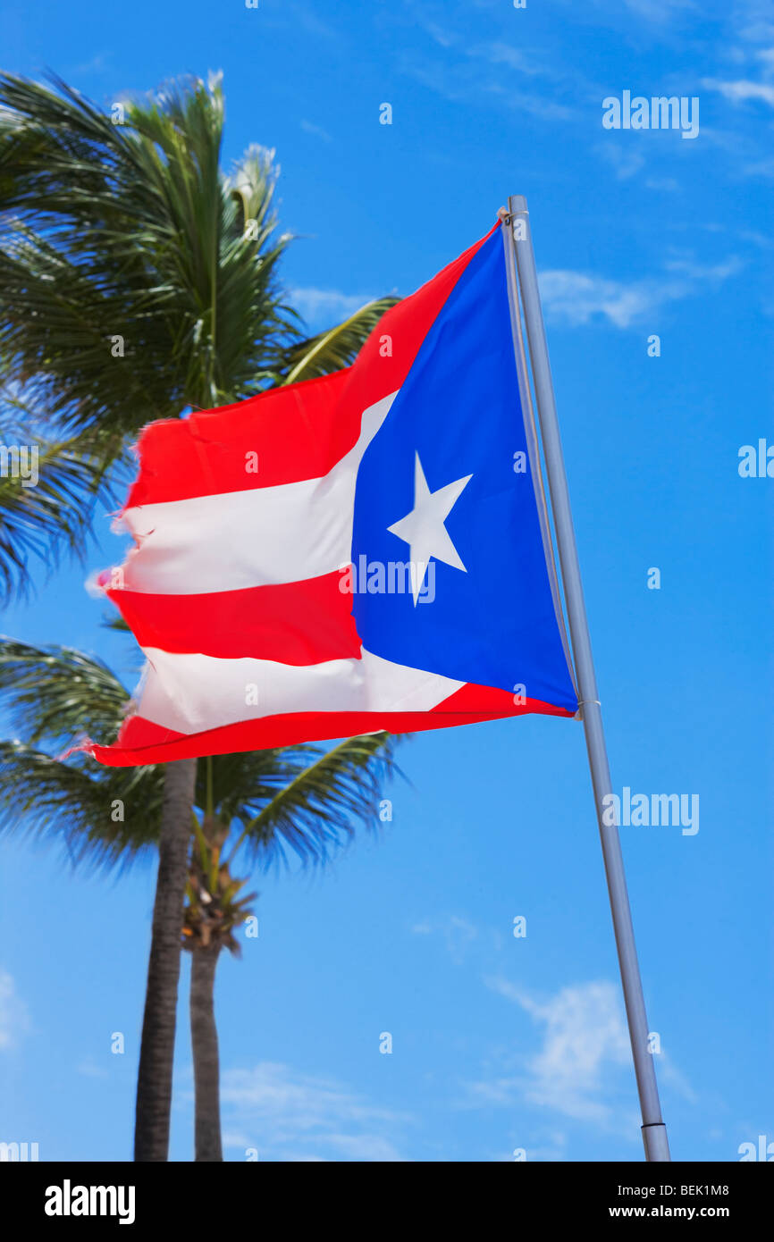 Low Angle View Of A Puerto Rican Flag Fluttering Luquillo Beach Rico