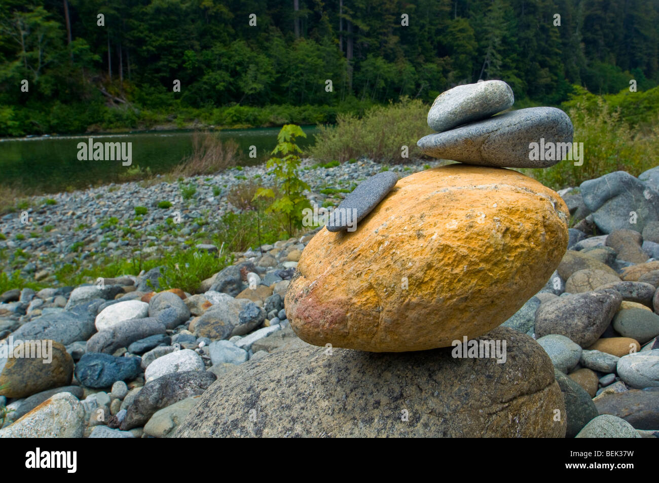 Small rock cairn built along the shore of the Smith River, Jedediah Smith Redwoods State Park, California Stock Photo