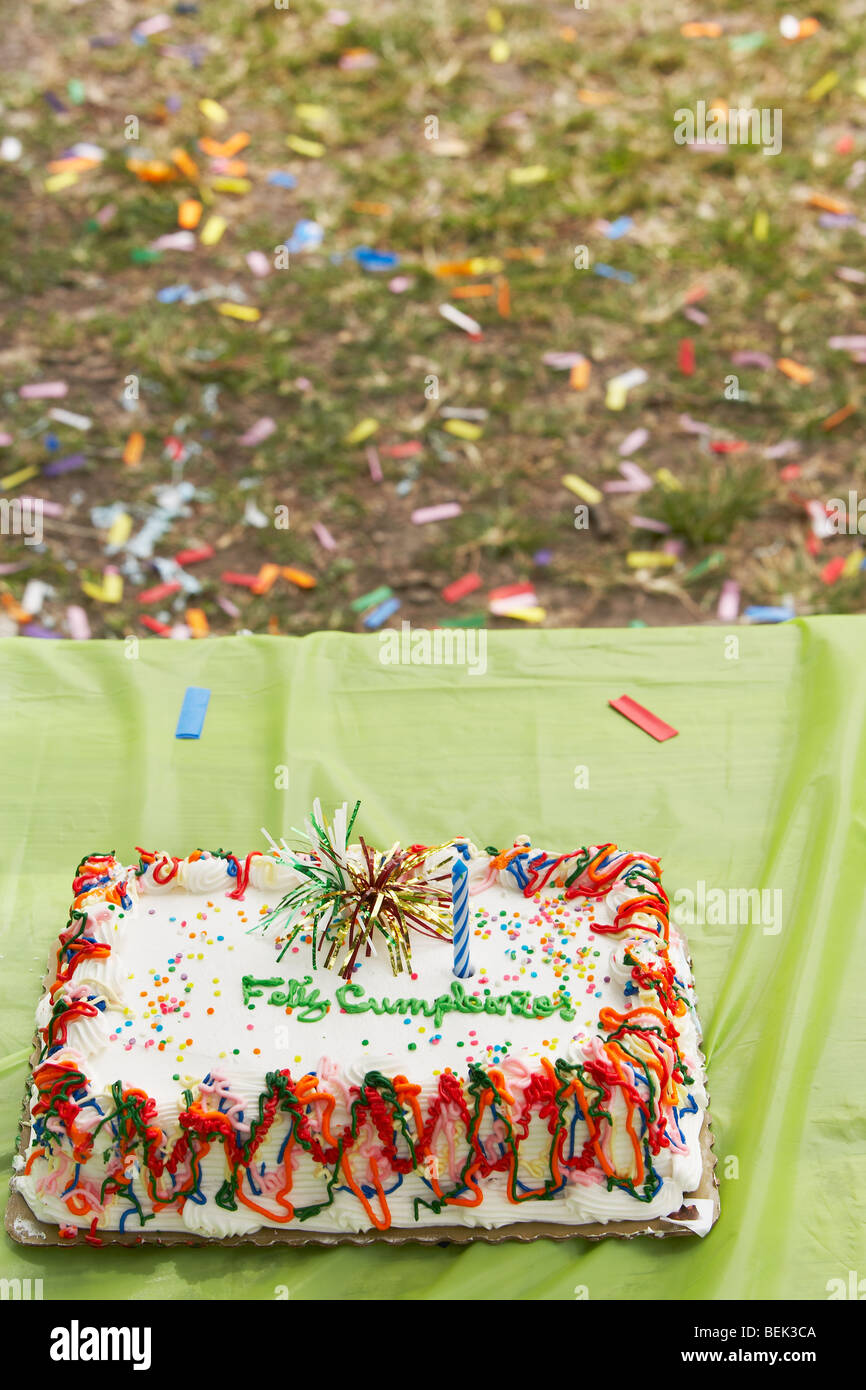 Close Up Of A Birthday Cake On Table
