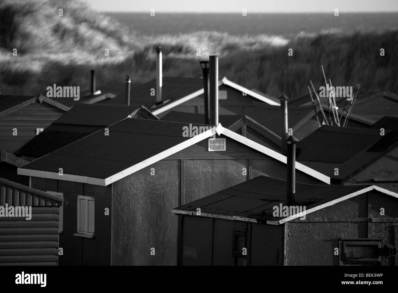Fisherman's huts at Redcar near Middlesbrough, Teesside, North Yorkshire uk - Stock Image