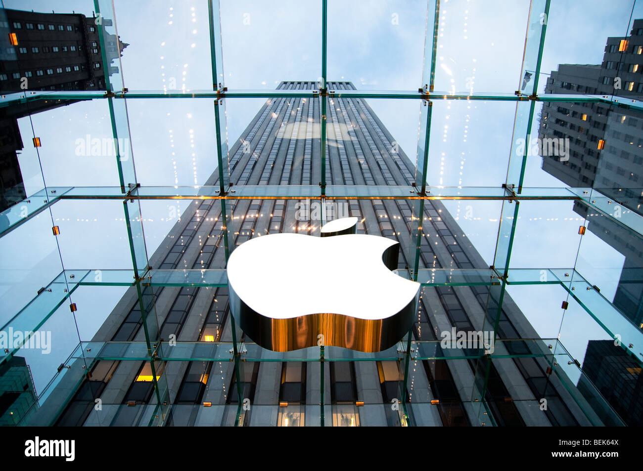 View Inside Apple Store on 5th Avenue in New York City, NY USA Stock Photo