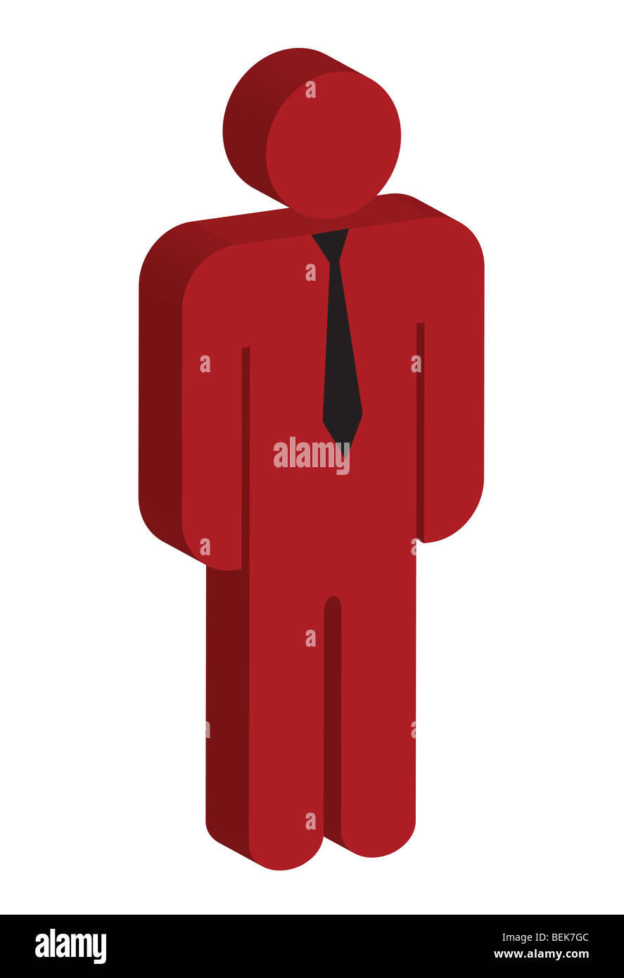 3D business executive in red with tie - Stock Image