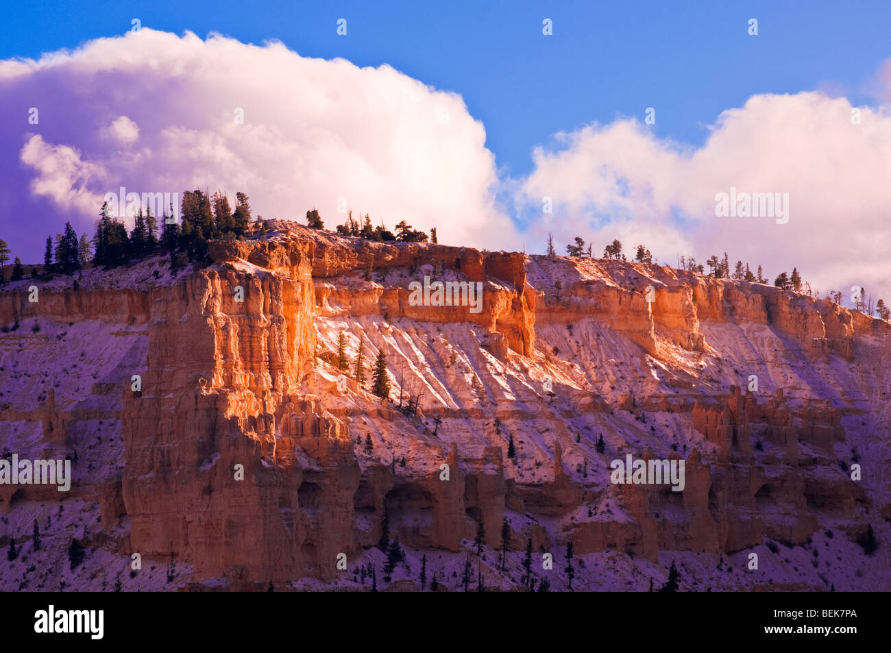 Evening light and fresh snow on Bryce Point, Bryce Canyon National Park, Utah Stock Photo
