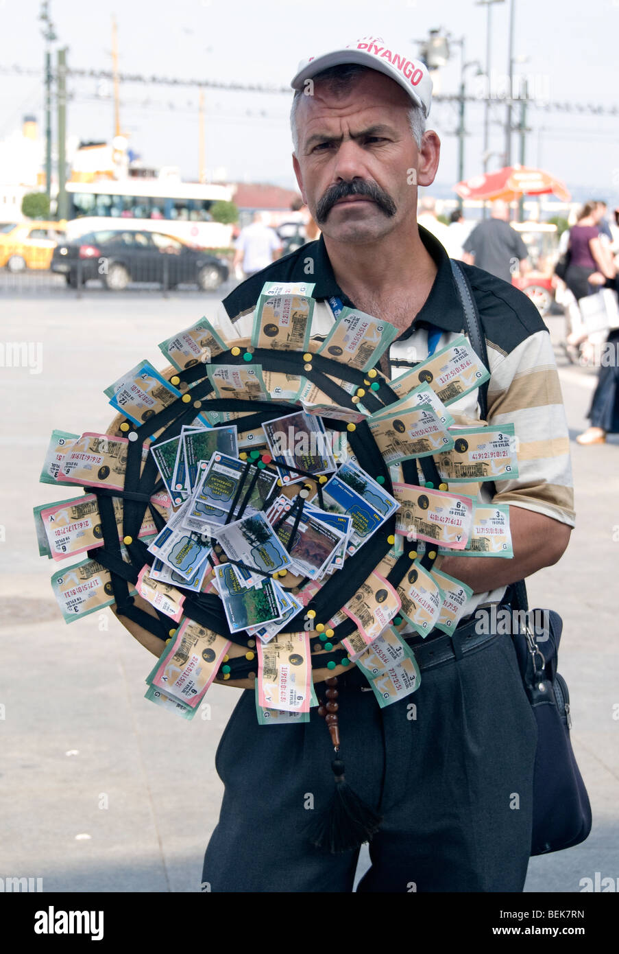 Istanbul Turkey old man gamble money Town Lottery - Stock Image