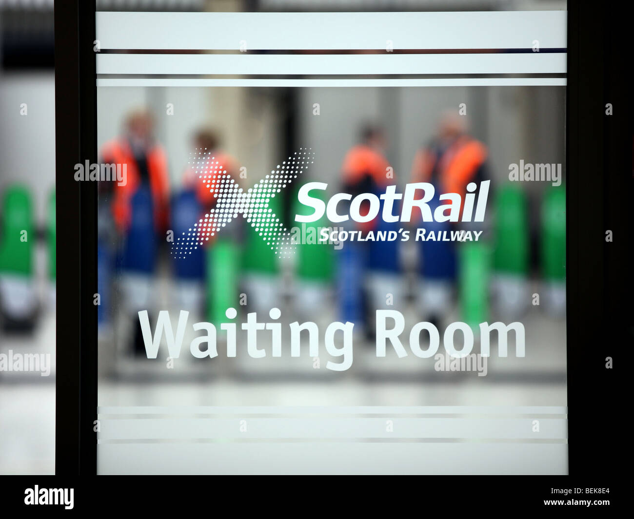 Window of Scotrail waiting room at Aberdeen railway station, Scotland, UK - Stock Image