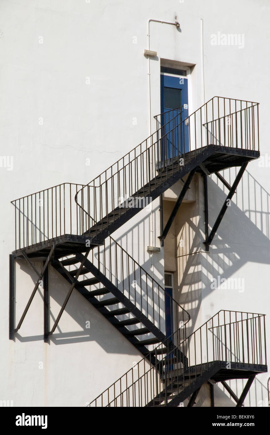 UK. Fire escape staircases in Paddington, London - Stock Image