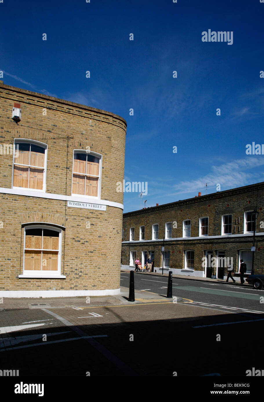 Junction of Wimbolt Street and Durand Street, Bethnal Green, London, UK - Stock Image