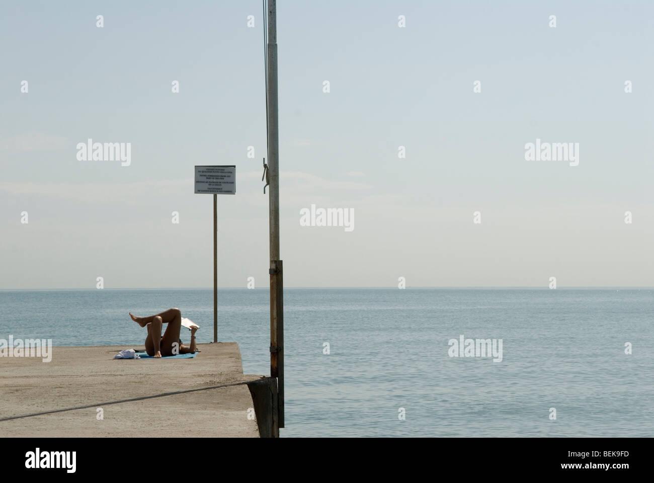 Venice Italy Venice Lido Adriatic sea the public beach. - Stock Image