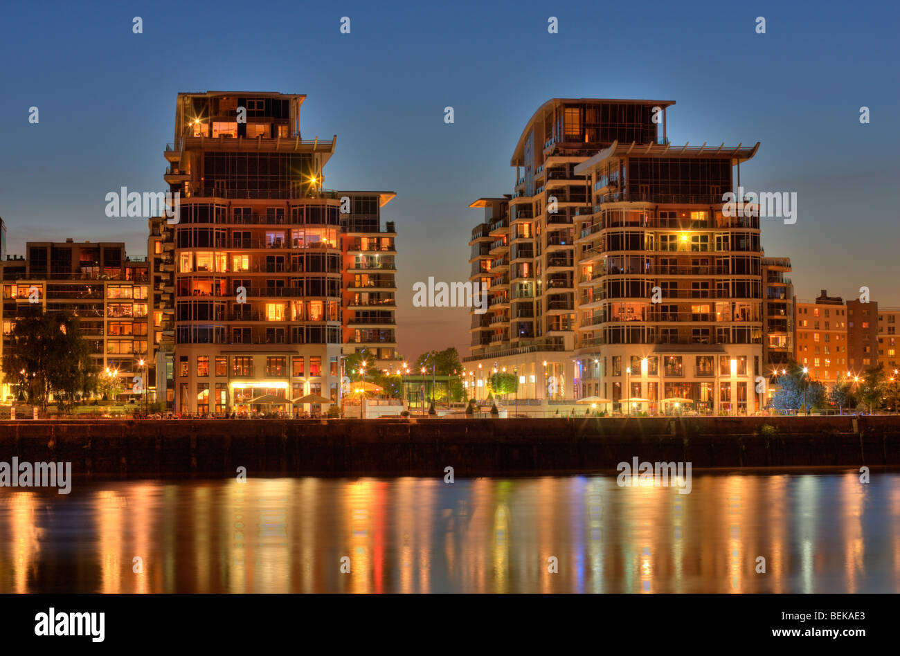 Imperial Wharf Development seen from across the Thames at sunset. - Stock Image
