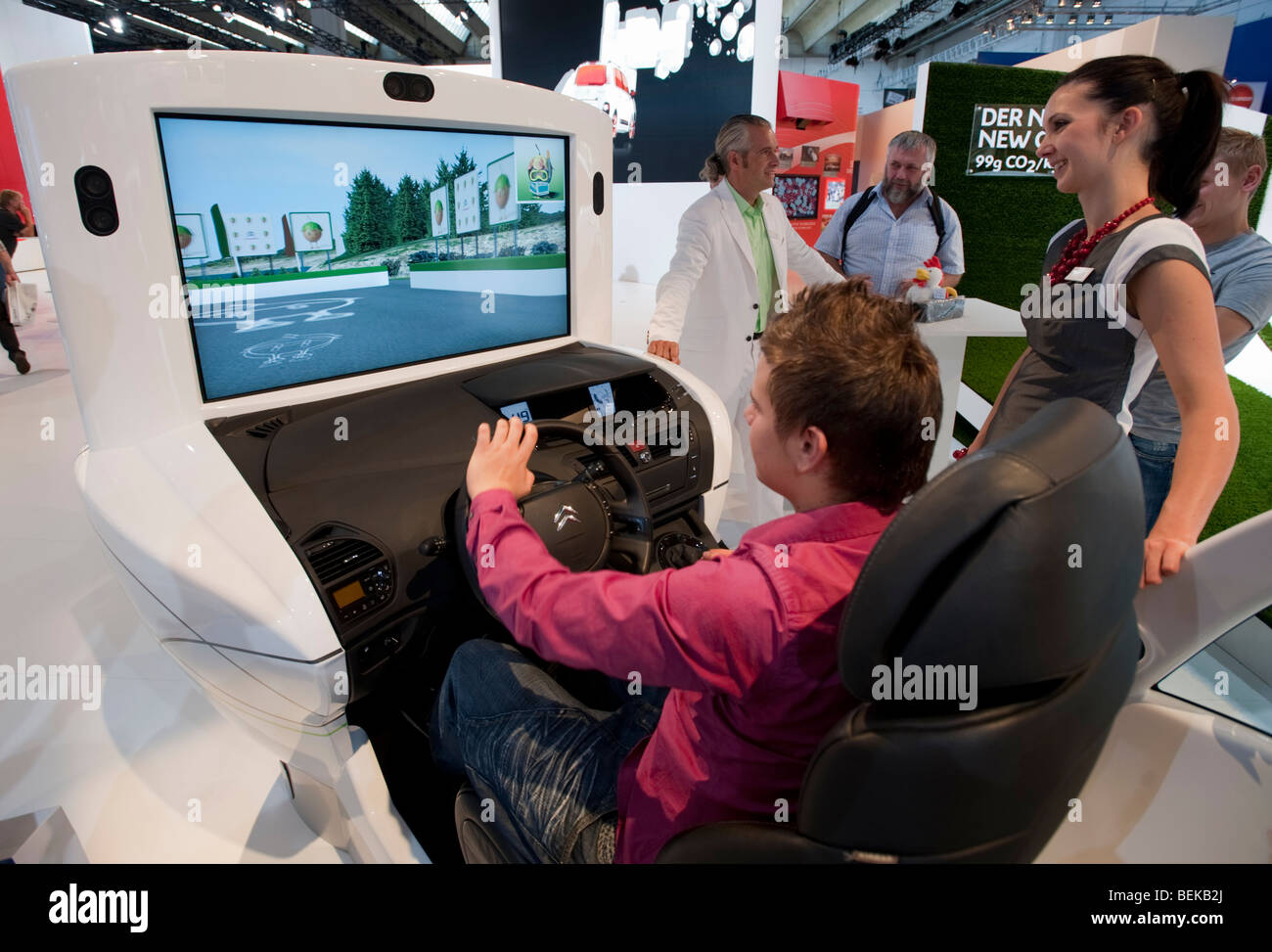 Driving simulator with video screen at Citroen stand at the Frankfurt Motor Show 2009 - Stock Image
