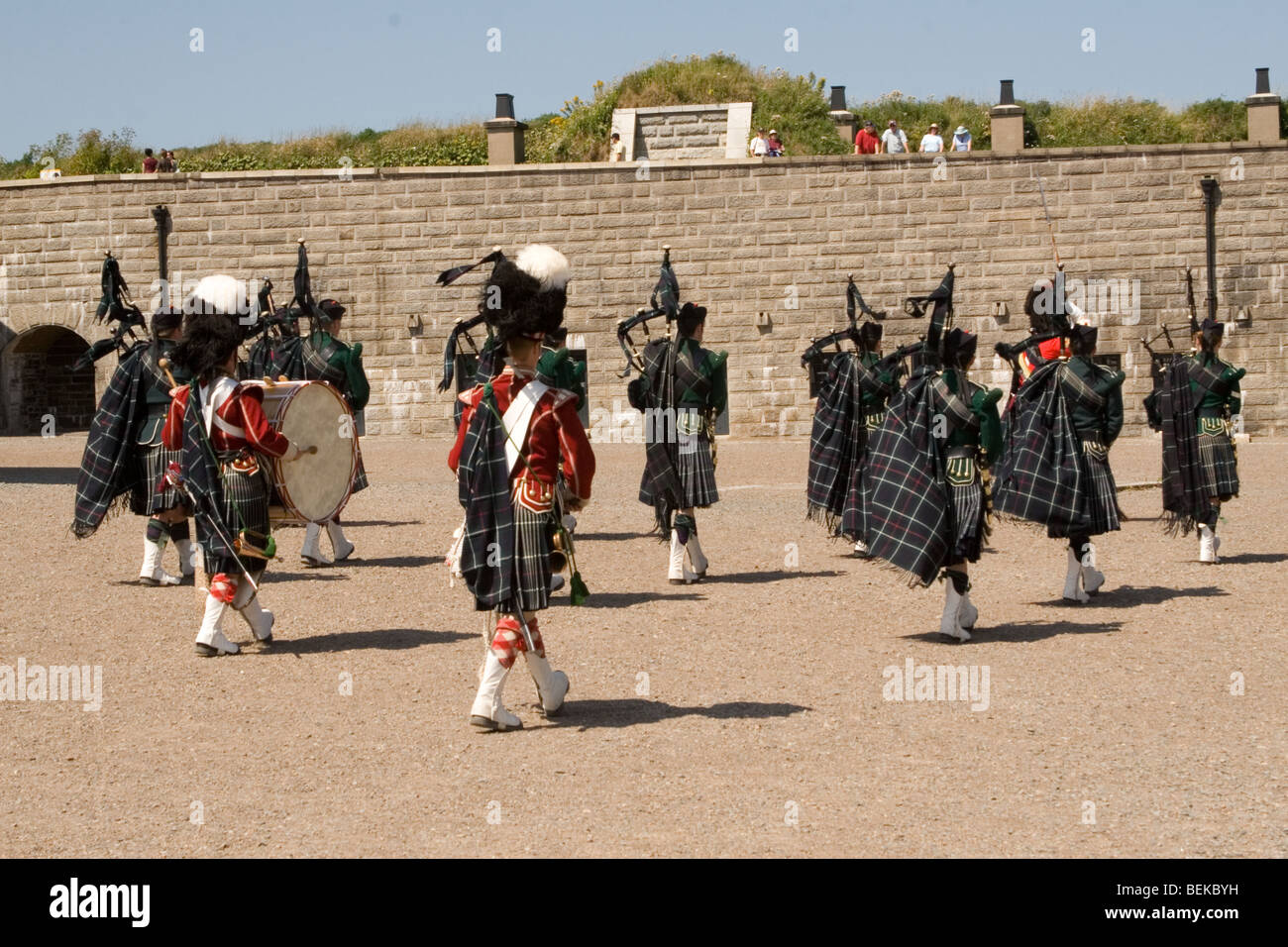 Scottish Guardsmen march at high noon at the Citadel Fortress in Halifax, Nova Scotia, UK. - Stock Image