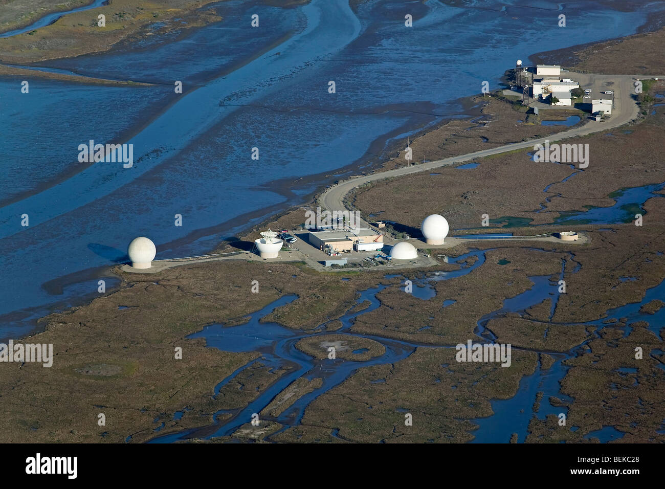 aerial view above Radar Reflectivity Laboratory Point Mugu Naval Air Station California - Stock Image
