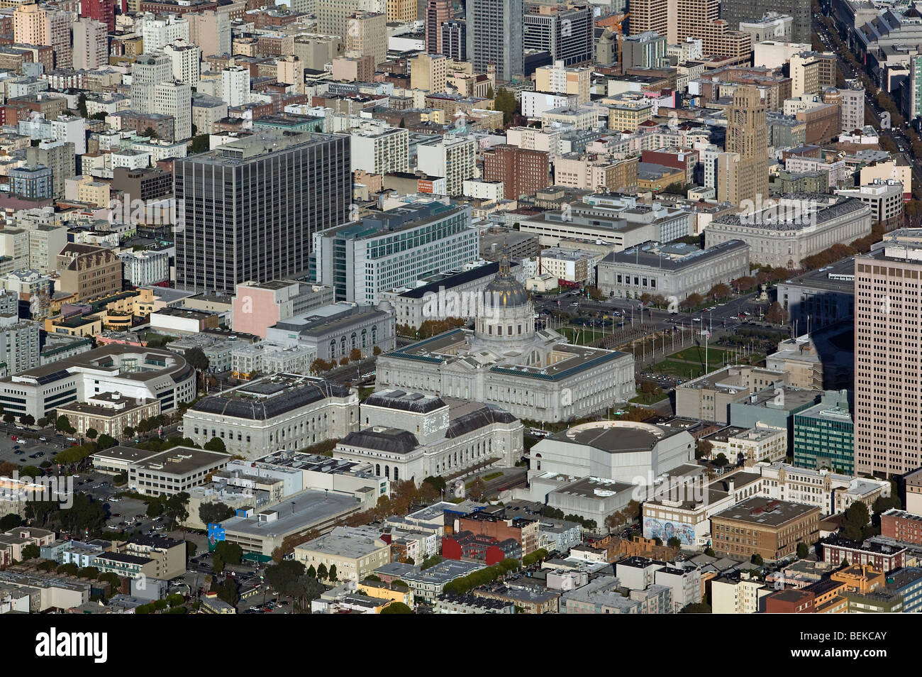 aerial view above San Francisco civic center city hall concert opera building Asian Art museum - Stock Image