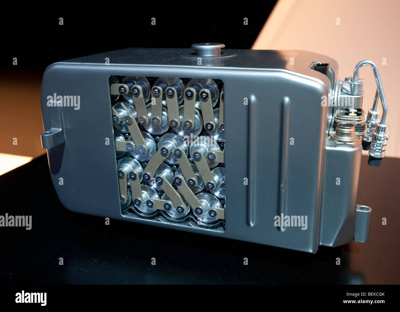 Detail of advanced lithium ion battery used in new electric powered cars at Frankfurt Motor Show 2009 Stock Photo