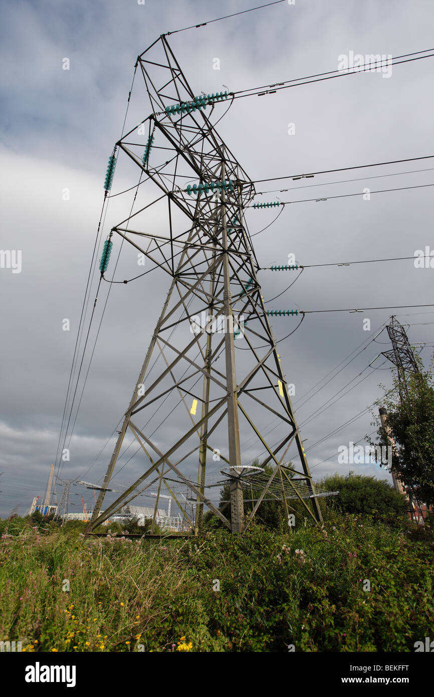 High voltage power pylon near Newport levels reserve - Stock Image