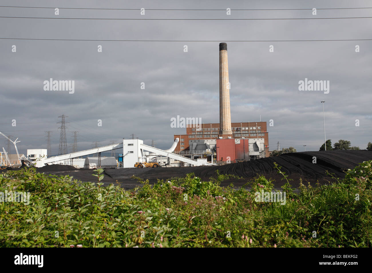 Coal fired power station steelworks adjacent to Newport levels reserve - Stock Image