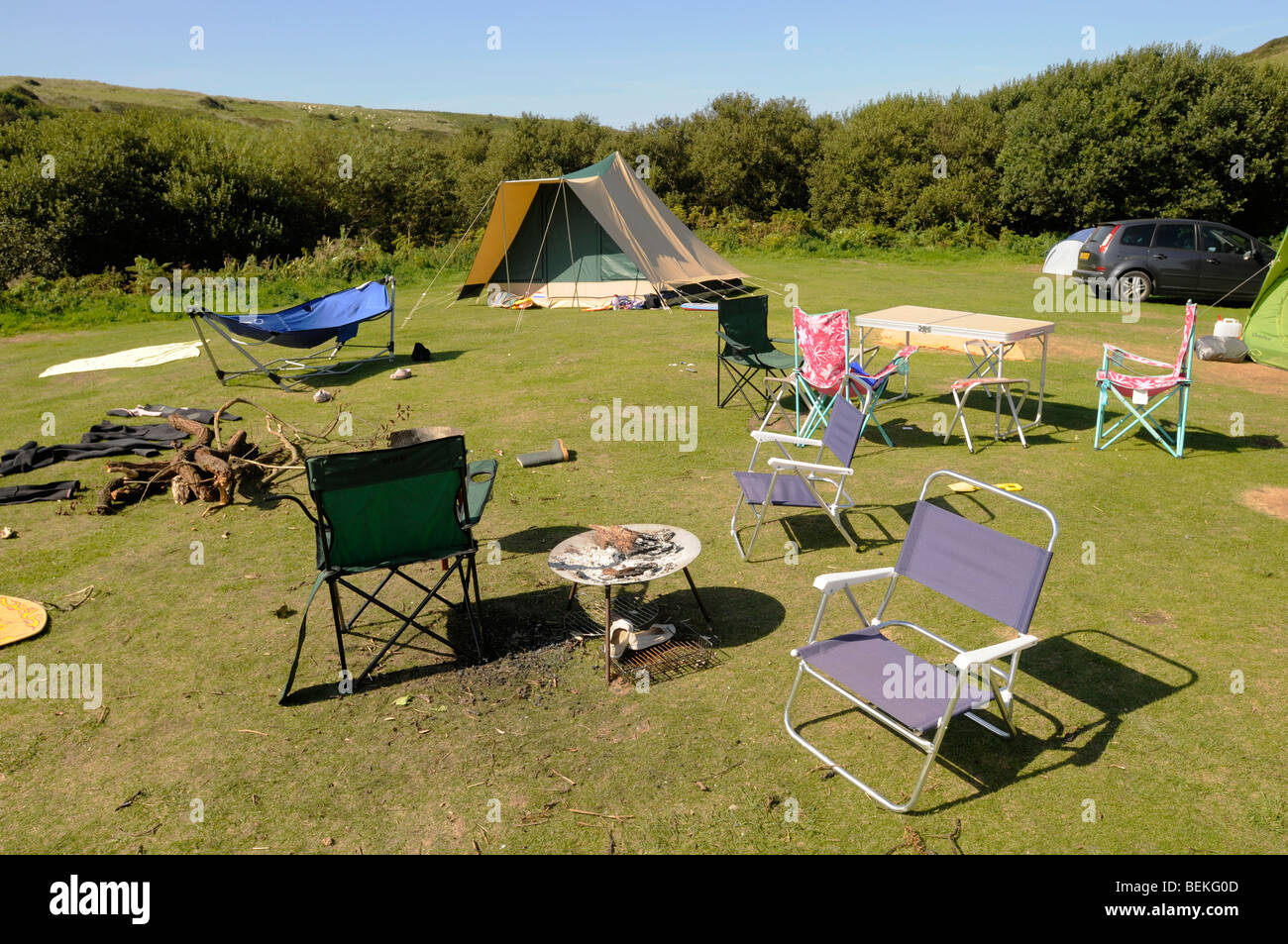 A deserted campsite scene - Stock Image