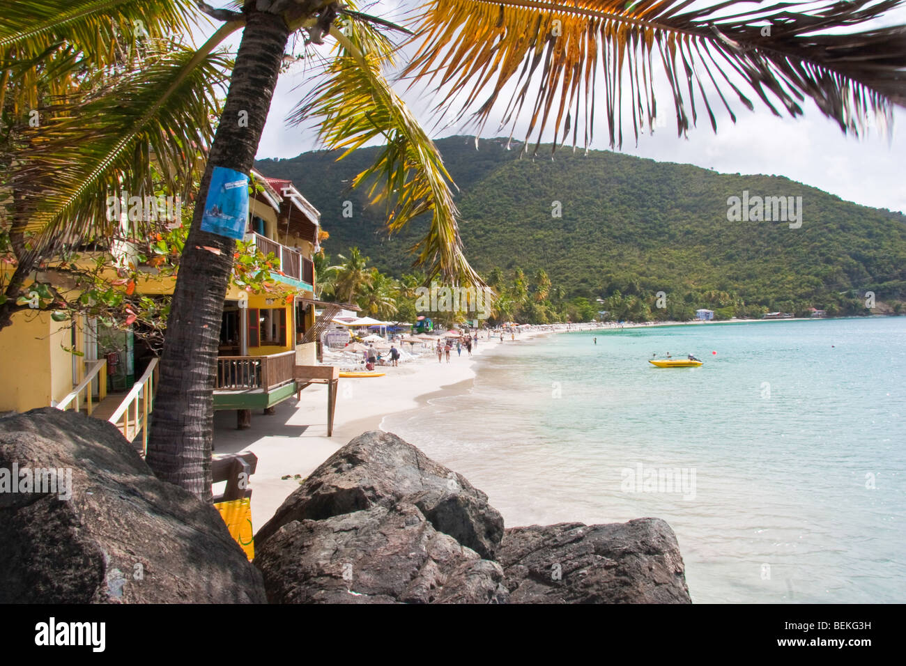 The Beach at Cane Garden Bay viewed from Quito Rymer's pier - Stock Image