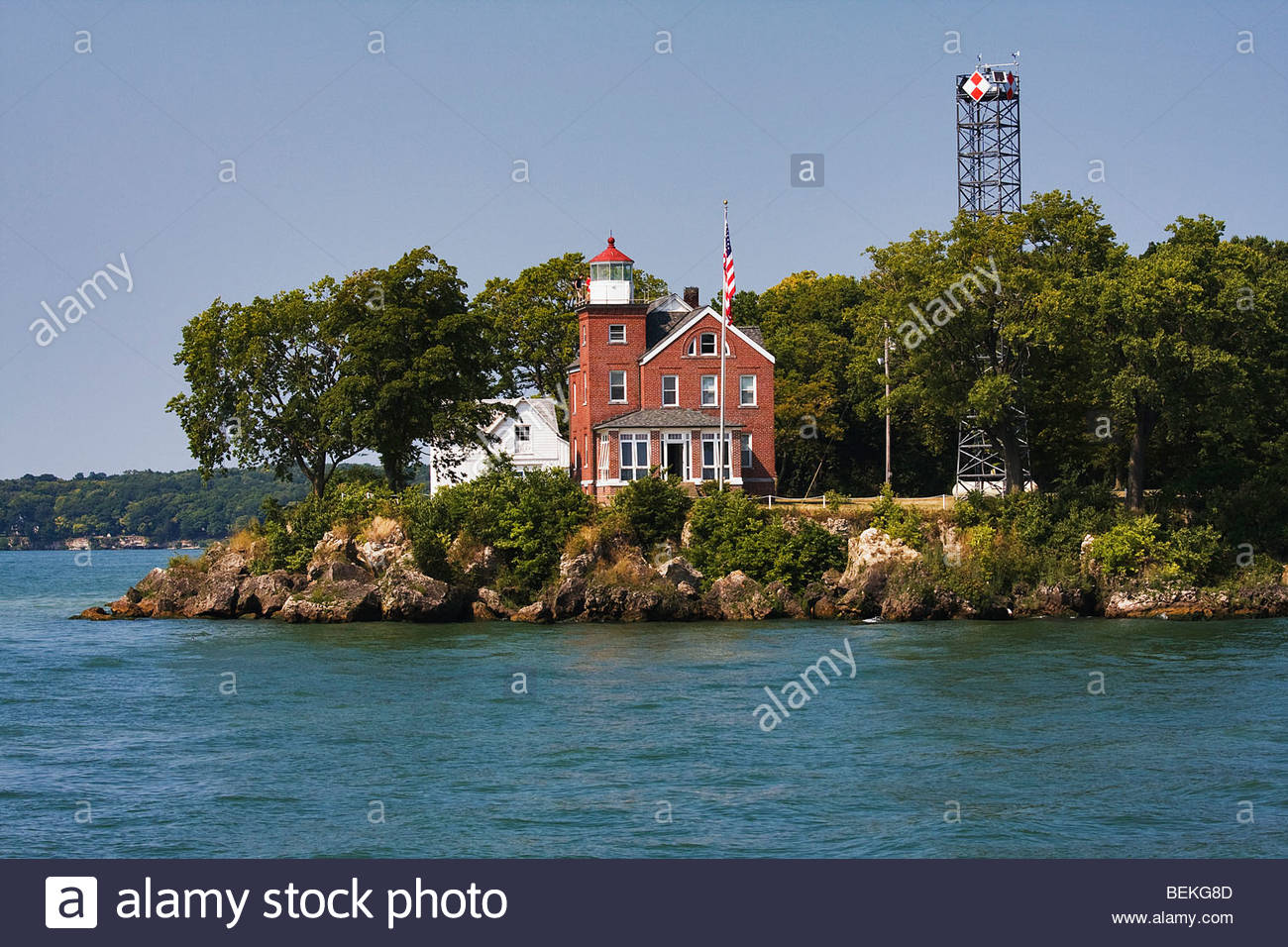 South Bass Island Lighthouse, Southwest end of South Bass Island in Ohio on Lake Erie. Established in 1897 and is - Stock Image