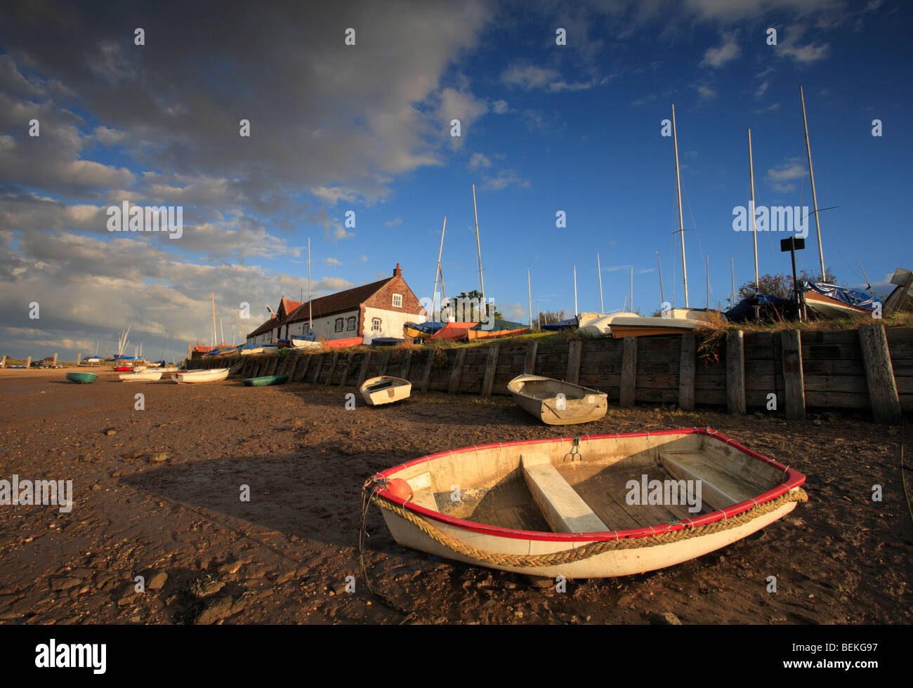 Boats and the Chandlery at Burnham Overy Staithe on the North Norfolk coast, England. - Stock Image