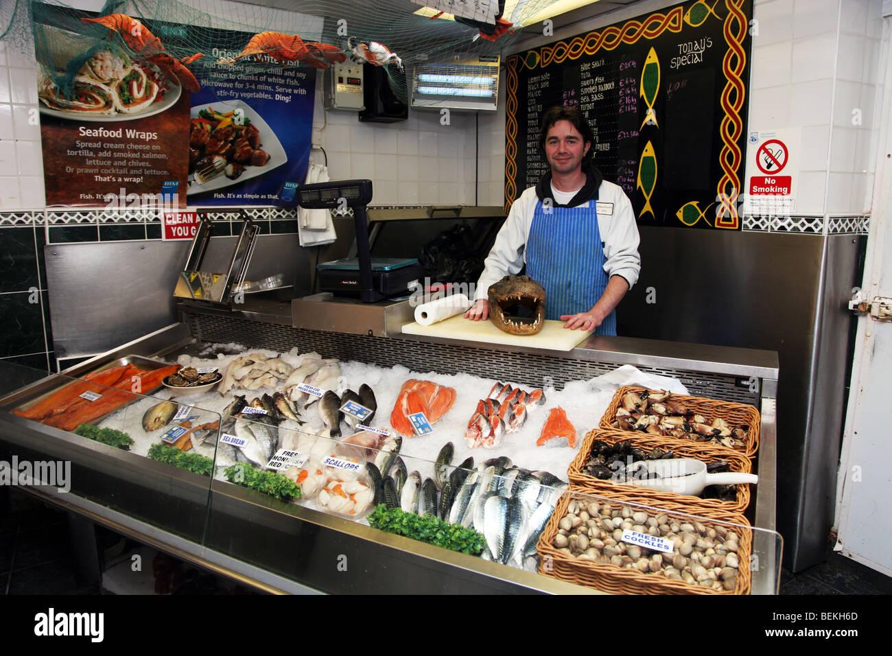 Paul Meenaghan, fishmonger, Ballina, Co. Mayo Ireland - Stock Image