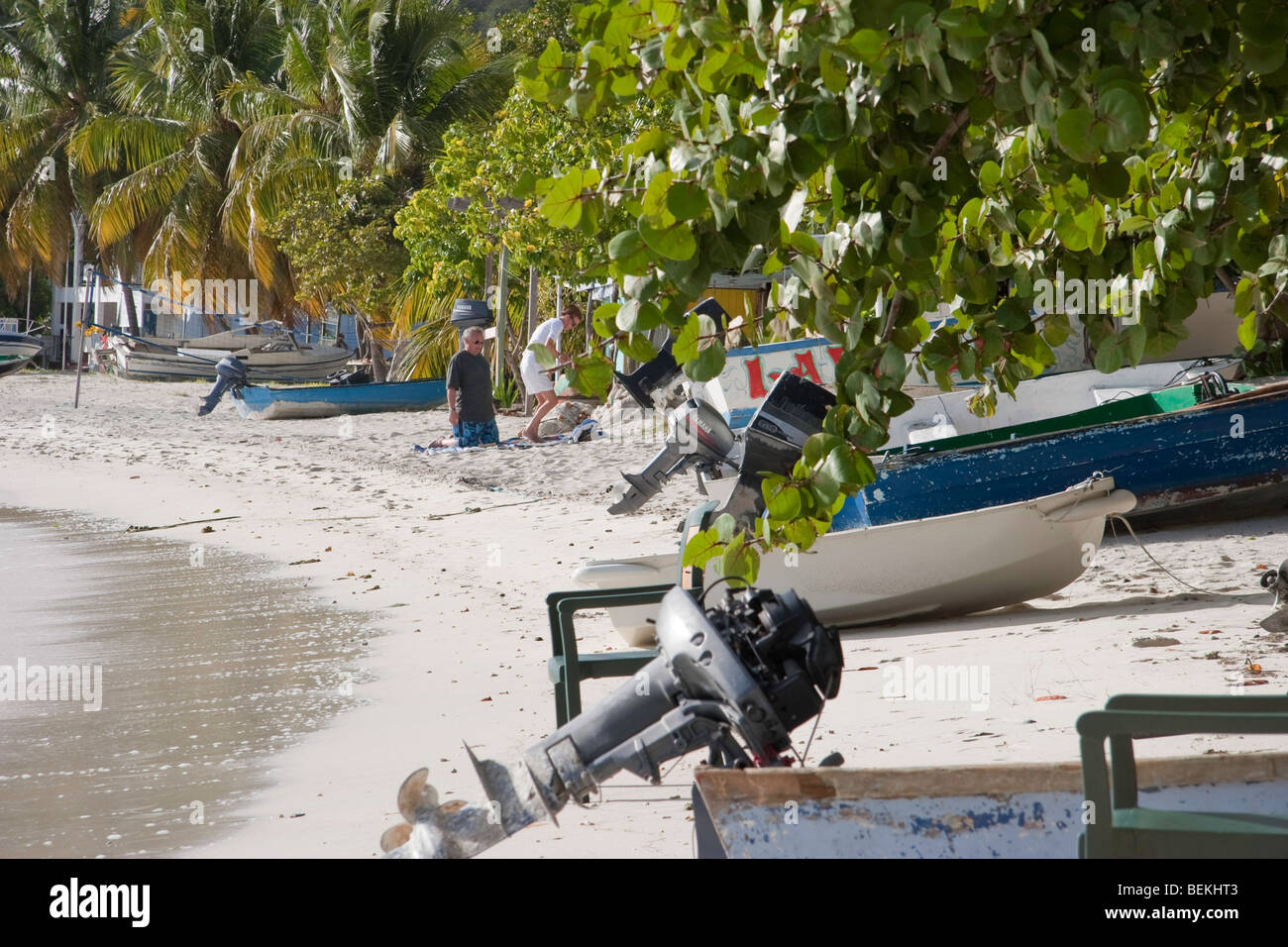 Beached boats at Great Harbour, Jost Van Dyke - Stock Image