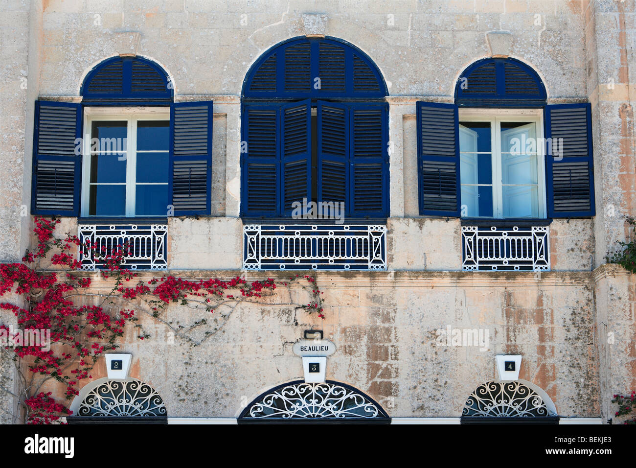 Shuttered windows, Mdina, Malta - Stock Image