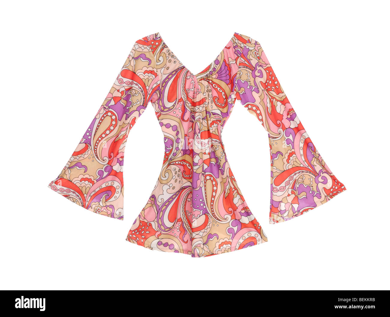 Fancy retro dress 60s style with bell bottom sleeves - Stock Image