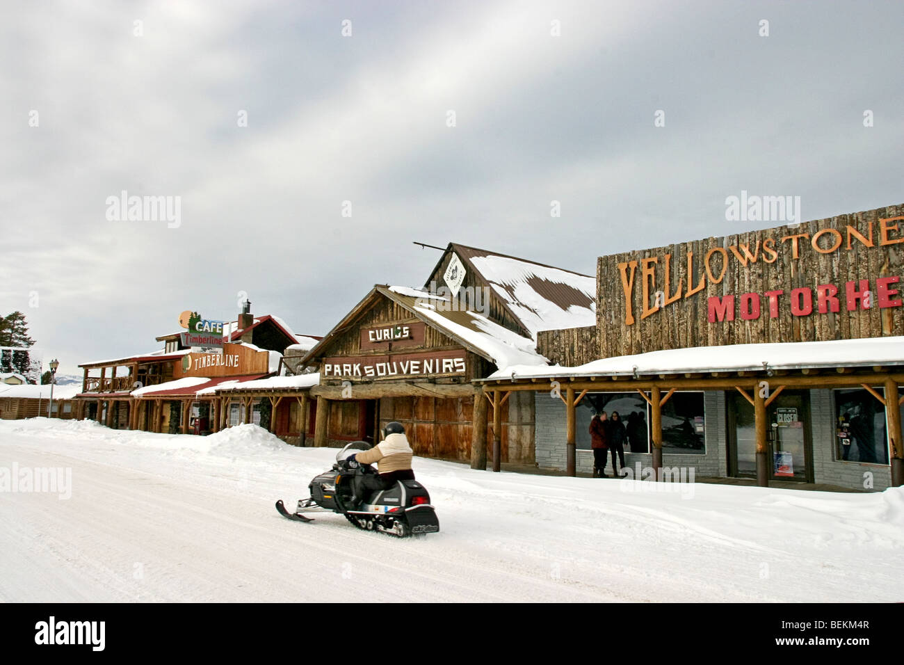Snowmobiling Down Yellowstone Avenue In West Yellowstone Montana Stock Photo Alamy