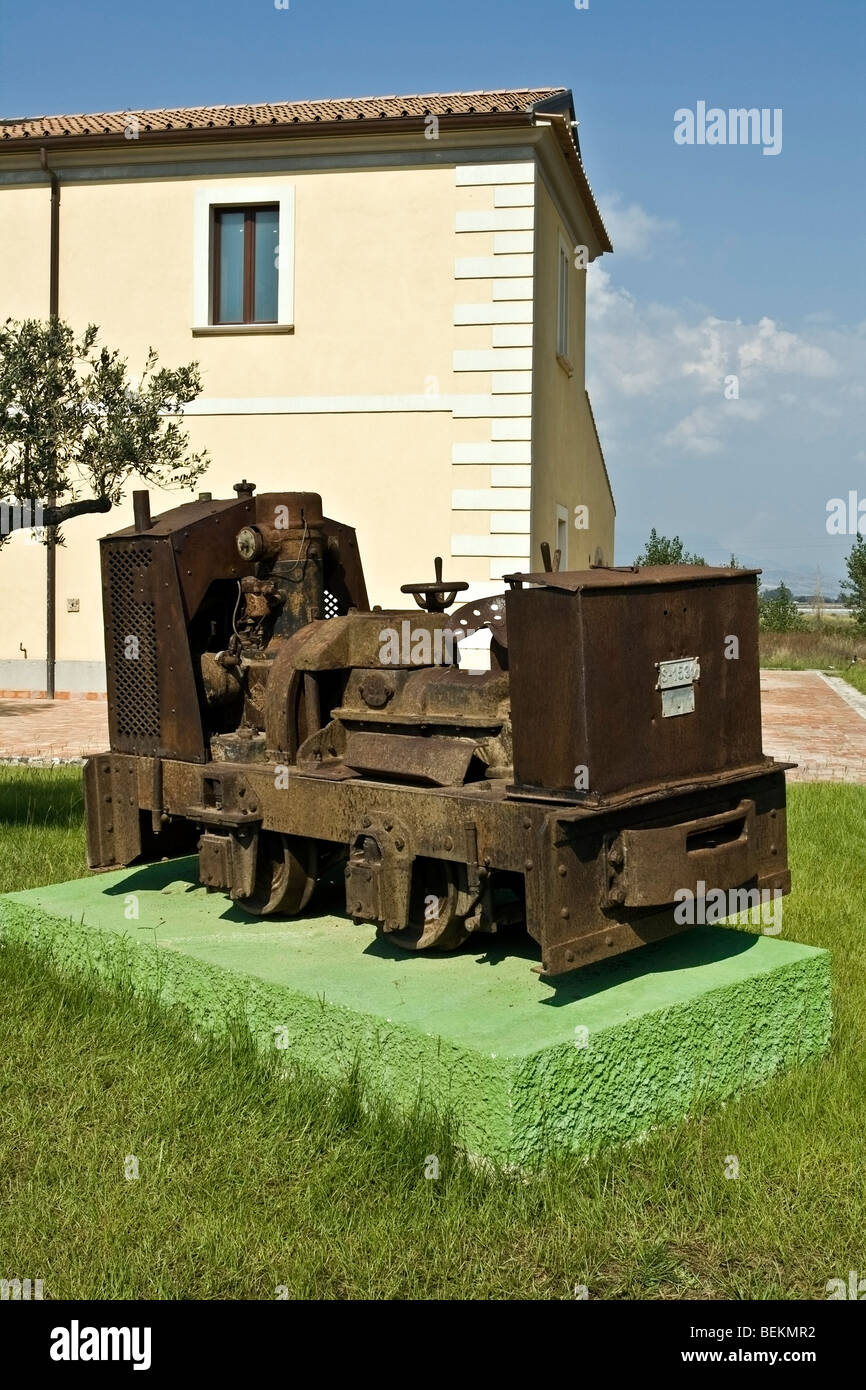 Very old small locomotive in a farm in Salerno,Campania, Italy - Stock Image