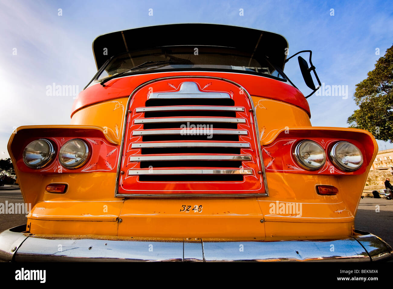 Old-fashioned retro grille of colorful bus - Stock Image