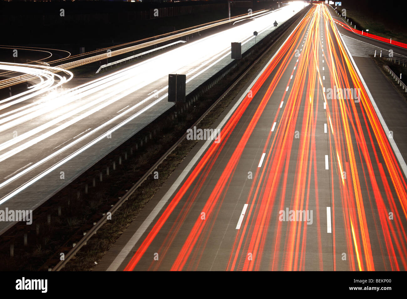 light trails at a motorway, Germany - Stock Image