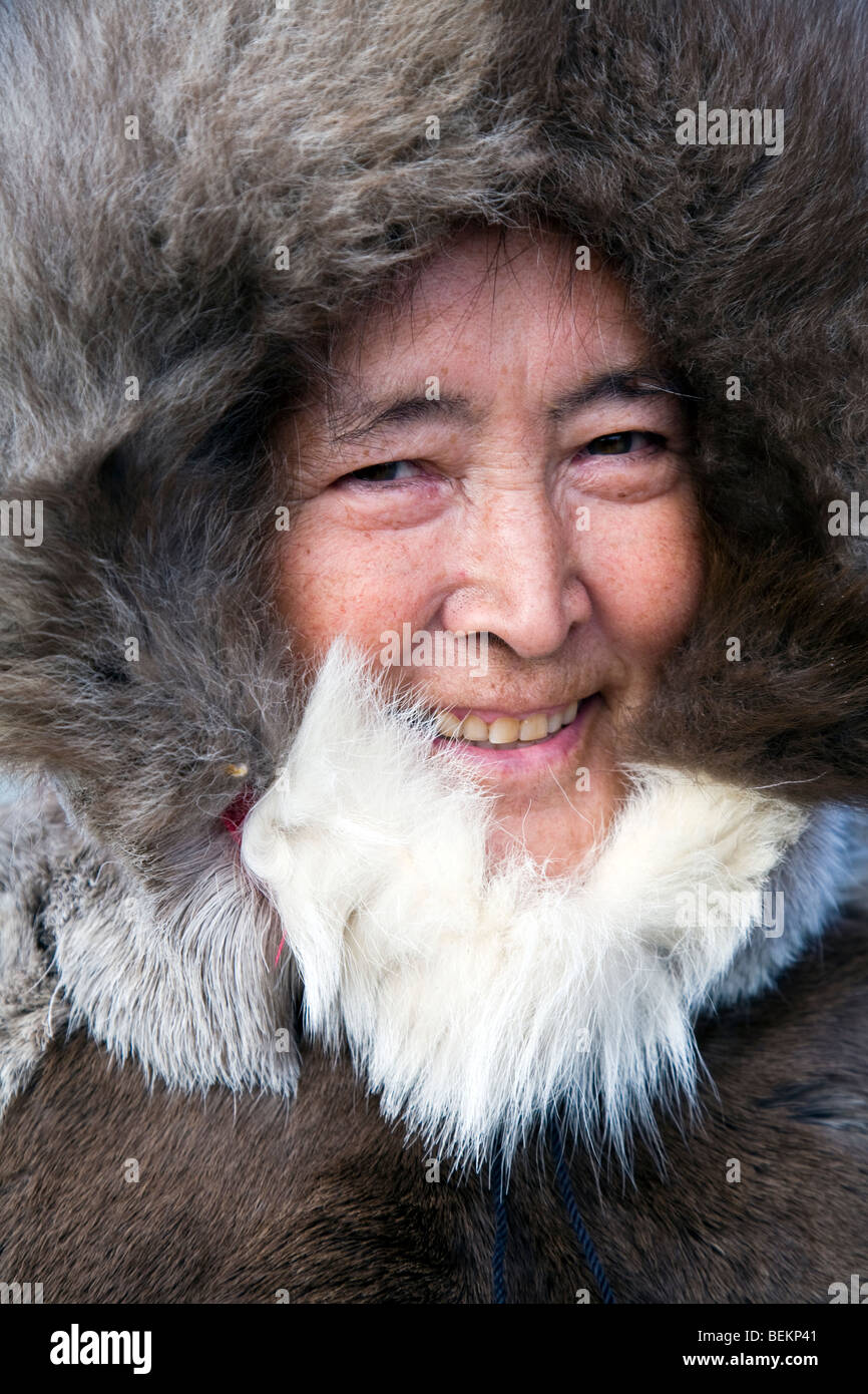 Inuit man in traditional seal fur parka - Stock Image