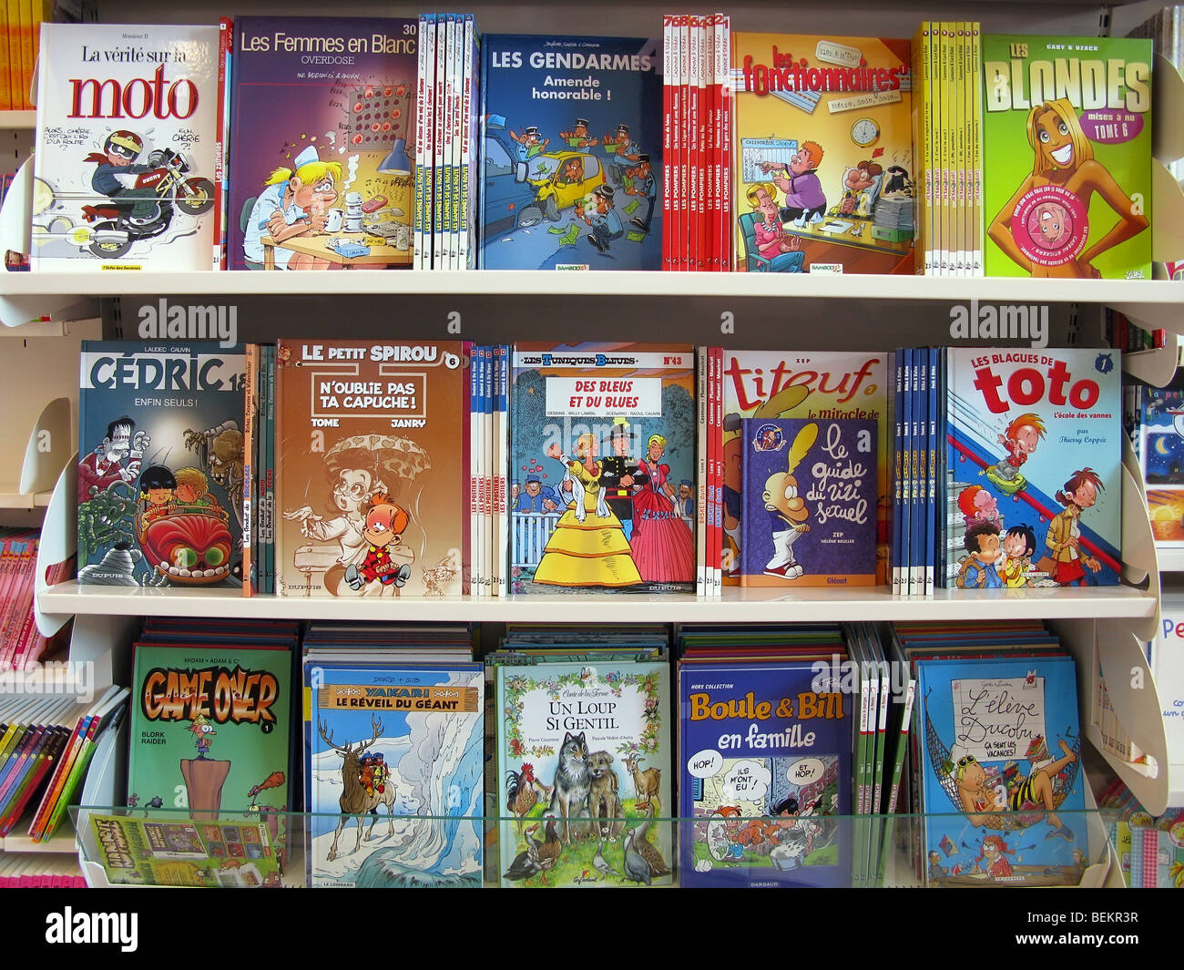 bandes dessinees books in a French supermarket - Stock Image